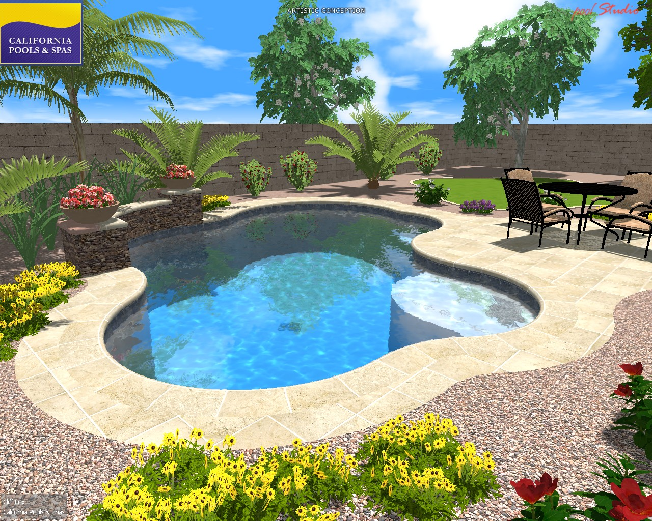 pool with travertine deck pool with deco wall