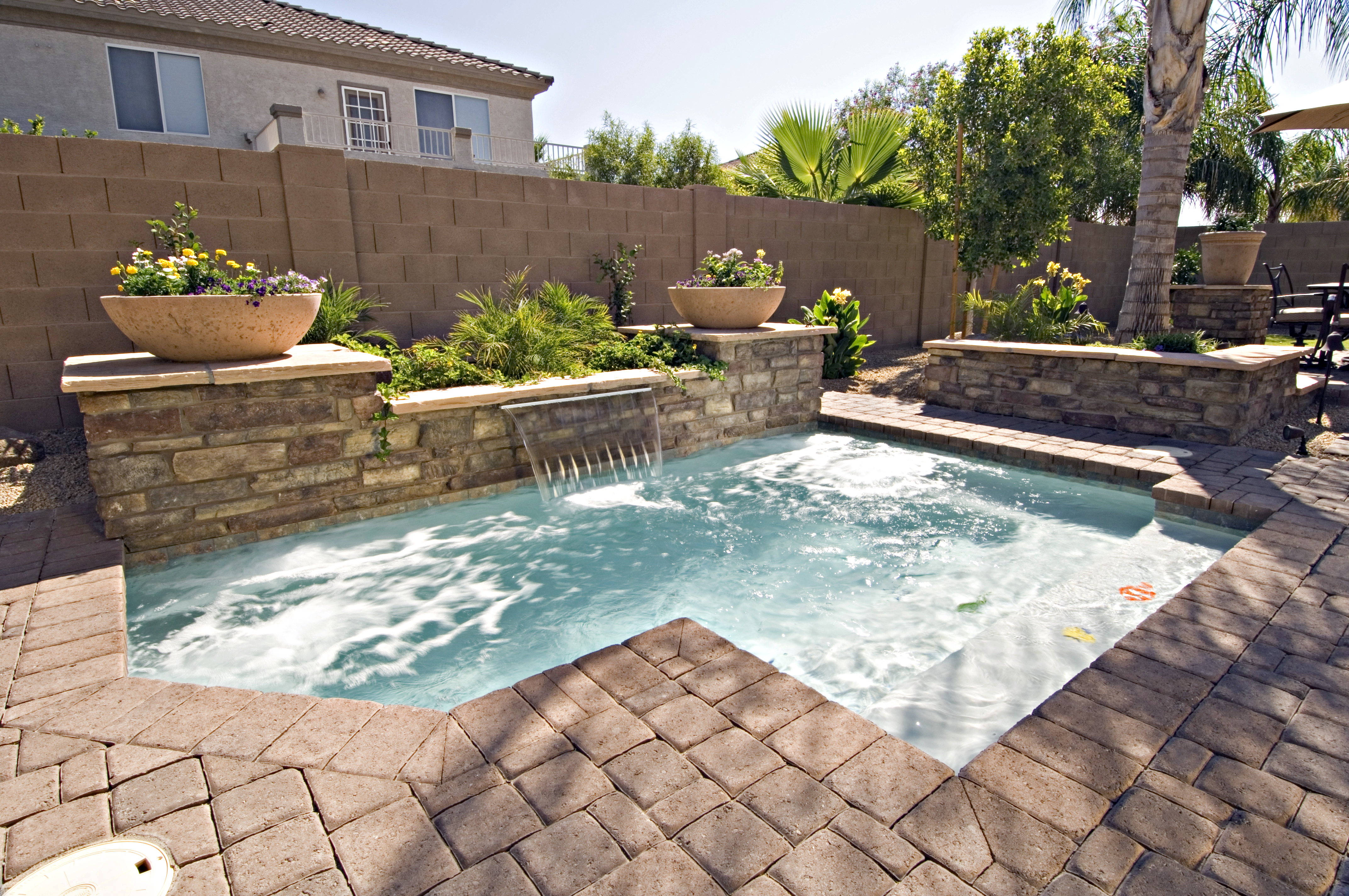 Cocktail Pool W/ Optional Raised Wall U0026 Water Feature